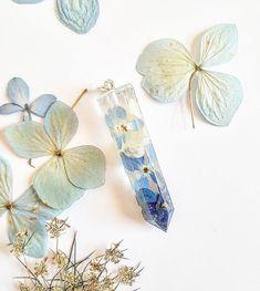 Gemstone necklace. Lapis necklace. Hydrangea necklace. Pressed flower necklace. Terrarium necklace. Witch jewelry. Real flower jewelry. Boho by WildwoodNature on Etsy