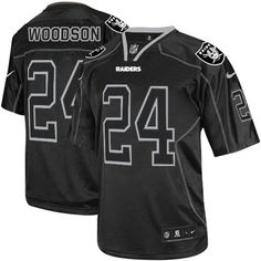 Nike Elite Charles Woodson Lights Out Black Men s Jersey - Oakland Raiders   24 NFL Charles f8df55a6a