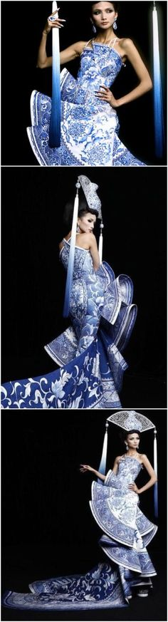 Vintage China Fashion! A stunning Blue & White Transferware Print Gown was worn by Miss China, Diana Xu Jidan in the 2012 Miss Universe Pageant. The clever gown was designed by Guo Pei of Rose Studio Fashion Co.