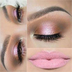 Pink and Rose Gold Eye Makeup +Soft Pink Lips
