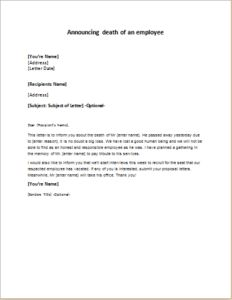 Letter Announcing The Death Of An EmployeeS Father Download At