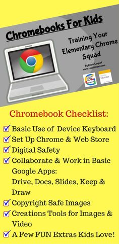 "Chrome & Google -Finally! An easy way to train kids to use Chromebooks! A year long curriculum-""Chromebooks For Kids"" is now available on Amazon. https://www.amazon.com/dp/B073XQ8GZV"
