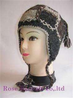 Woolen Animal Hand Made Knit Hat Black!