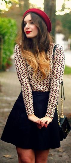 Cute winter outfit look!! Black skirt with sweater and tights along with a red hat