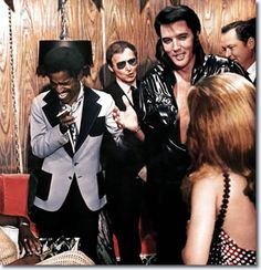 Sammy Davis Jr with Elvis Presley, backstage, Opening Night 1969.