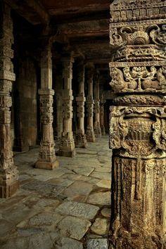 Finely carved columns at Quwwat ul Islam Mosque in Qutub Minar Complex, Delhi, World Heritage Sit.   (via fineartamerica.com)
