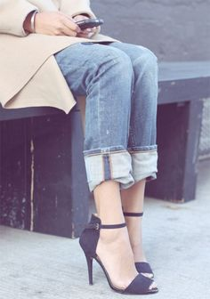 denim and heels in autumn