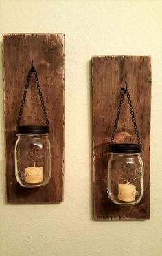 DIY pallets and mason jars Candle Holder - 10 Rustic Pallet Creations for DIY Home Decor | 101 Pallets