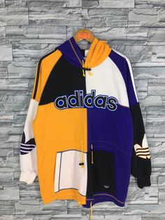 Excited to share this item from my shop: Vintage ADIDAS Trefoil Hoodie Sweatshirt Large Adidas Big Logo Colorblock Hip Hop Streetwear Adidas Run Dmc Pullover Sweater Size L Hip Hop Outfits, Hipster Outfits, Dope Outfits, Adidas Trefoil Hoodie, Adidas Hoodie, Run Dmc, Adidas Three Stripes, Striped Jeans, Vintage Adidas