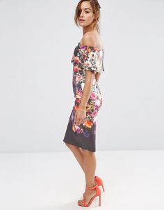Image 1 of ASOS Deep Fold Off The Shoulder Floral Midi Pencil Dress
