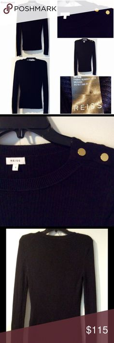 Reiss Brand, Black, L/S Knit Top, Gold Accents, SM Reiss Brand, Black, L/S Knit Top, Gold Tone Button Accents, Size: Small. Sophisticated Style. Reiss Tops Blouses