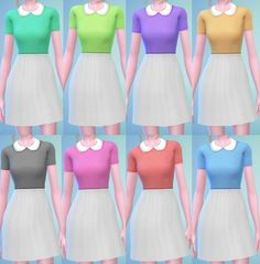 The simsperience: 8 Vintage Peter Pan Collar Dress Recolors • Sims 4 Downloads…