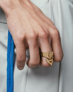 The Frame is marked by an articulating triangular attachment that features a contemporary cut-away and curving points that conform to the shape of your finger. Available now at vitalydesign.com Shape Of You, Finger, Rings For Men, Shapes, Contemporary, Frame, Photos, Accessories, Style
