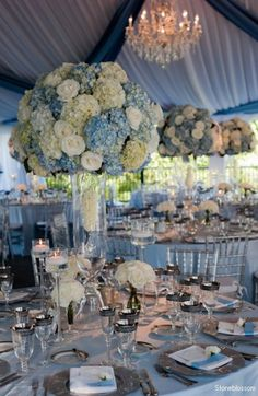 table decoration - if your doing light blue hydrangeas go a long way and are a good price. Look at the beauty that blue tent adds!!!
