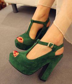 Sexy Ladies Sandal Faux Suede Platform Peep Open Toe Shoes T-strap Thick Heels