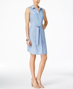 INC International Concepts Petite Linen Chambray Shirtdress, Only at Macy's $59.99 This contemporary, sleeveless petite shirtdress by INC International Concepts elevates your casual style with effortless flair.