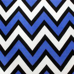 Electric Blue Black and White Big Chevron Cotton Jersey Blend Knit Fabric :: $6.50