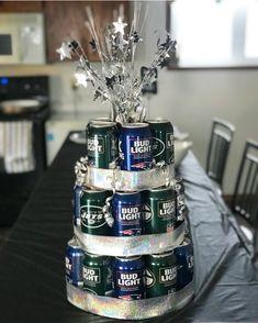 Bud Light beer can birthday cake tower