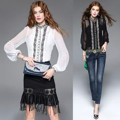 2017 spring summer fashion OL 's formal blouses embroidered silk shirt stand collar female high quality tops