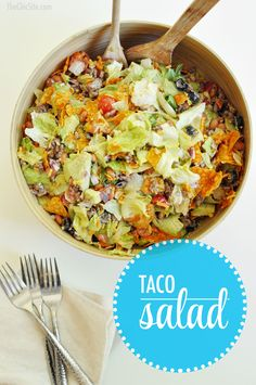 Dorito Taco Salad - Don't forget to add your cheese, tomatoes, beans, olives and meat!