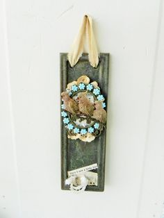 Hanging Mixed Media Collage w/ Antique Brass by backthroughtime, $24.75