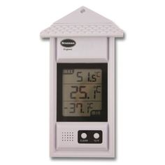 Digital max min thermometer in white case with roof. Suitable for outdoor or indoor use. This max min thermometer features a triple display which simultaneously shows minimum, maximum and the current temperature. Easy push button to reset the max and min temperatures and also comes complete with batteries included.