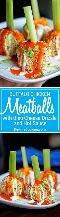 These Buffalo Chicken Meatballs get a crunchy exterior, tender chicken inside with bleu cheese dressing, hot sauce and get skewered with celery. Perfect go Game Day or any party! via @keviniscooking