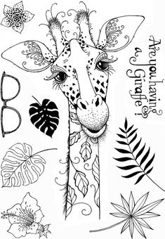 Pink Ink Designs Clear Stamp Set - x 8 sheet of clear stamps. sizes: Large giraffe: x sunglasses: x Hibis Animal Coloring Pages, Colouring Pages, Scrapbooking, Scrapbook Cards, Tampons Transparents, Ink Stamps, Postage Stamps, Art Impressions, Giraffes
