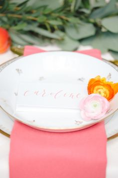 Pink calligraphy place card | Claire Graham Photography  | see more on: http://burnettsboards.com/2015/04/coral-peach-wedding-editorial/