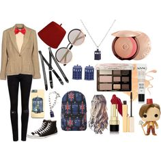 11th Doctor by dr-derp-of-awesomeness on Polyvore featuring Miss Selfridge, Ralph Lauren Blue Label, Rodarte, Ted Baker, Converse, Marc by Marc Jacobs, Guerlain, Too Faced Cosmetics, Dolce&Gabbana and Stila