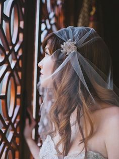 Love this Art Deco Inspired Bridal Veil (by Gilded Shadows, photo by Heidi Ryder, model Haley O'Conner)