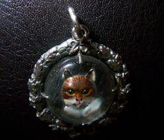 Miau Wunderschöner Katzen Anhänger 800 Silber UNTER-Glass - Gravur | eBay