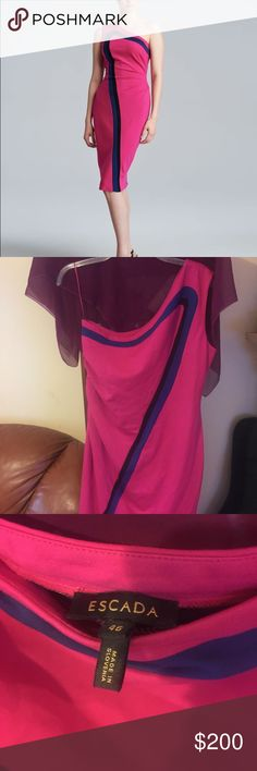 Escada dandelion one shoulder jersey dress Hot pink! Worn a few times. No physical damage/stains to the dress. In excellent condition. Size 46 = 16 in us Escada Dresses One Shoulder