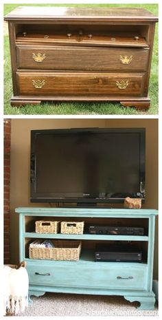Shabby chic TV stand.  I think I like this dresser refurb the best!  Two shelves and then one drawer.  Could be used for blankets or toys.