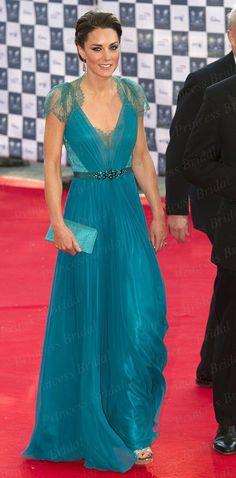 The 65th Emmy Awards Hot Sale Sheath V-Neck Floor Length Red Carpet Kate Middleton Dress With Cap Sleeve CE1621