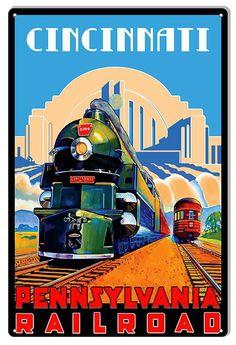 Cincinnati Pennsylvania Vintage Railroad U. Travel Advertisement Art Poster for sale online Art Deco Posters, Cool Posters, Poster Prints, Retro Posters, Art Prints, Train Posters, Railway Posters, Pennsylvania Railroad, Train Art