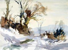 John Hoar | Landscape1 Watercolor Landscape Paintings, Watercolor Trees, Watercolor Artists, Abstract Watercolor, Watercolor And Ink, Landscape Art, Watercolor Portraits, Abstract Paintings, Painting Snow