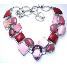 925 Sterling Silver Necklace with Pink Topaz, Pink Opal, and Red Sponge Coral Gemstones