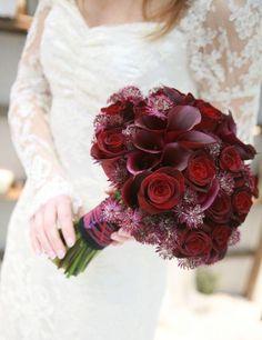 Stunning burgundy & deep red bridal bouquet from Zita Elze Flowers