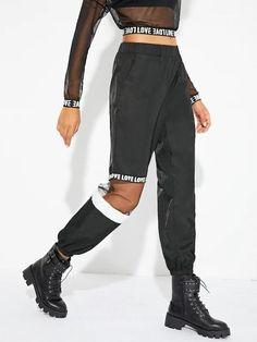 Women Mesh Contrast Letter Print Utility Pants - Kiddenmart #womenpants #womenfashion Flare Leg Pants, Wide Leg Pants, Cropped Trousers, Denim Jacke, Fall Pants, Cooler Look, Type Of Pants, Pants For Women, Clothes For Women