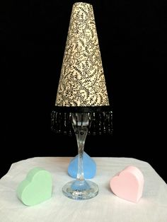 Miniature Lampshade made out of some fabric, chart paper and wine glass used as a stand