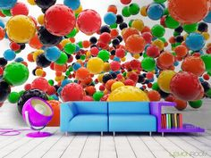 Kolorowo i trójwymiarowo. #Fototapeta #3D z aranżacji ➡ http://bit.ly/colored-balls #Fototapety #interiordesign #decor