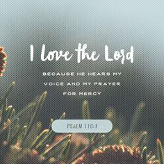 I love the Lord because he hears my voice and my prayer for mercy. Because he bends down to listen, I will pray as long as I have breath! Psalms 116:1‭-‬2 NLT