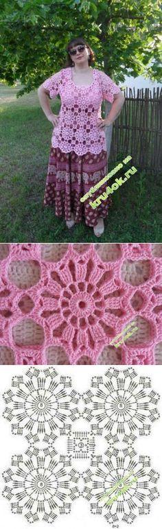 Crochet Patterns Jumper The summer tunic - Svetlana Shevchenko& work - knitting work . Filet Crochet, Crochet Motif, Crochet Lace, Crochet Stitches, Crochet Doilies, Crochet Baby Cardigan, Crochet Shirt, Crochet Gloves Pattern, Easy Crochet Patterns