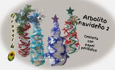 Árbolito navideño 2   cestería con papel periódico - Christmas tree 2 ba...
