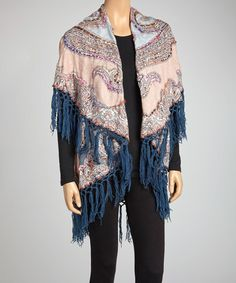 Take a look at this Blue & Gray Paisley Cape by Raj Imports on #zulily today! $25 !!