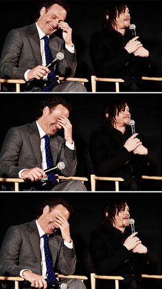 Andrew Lincoln and Norman Reedus at 'The Walking Dead' Deadline panel at the Egyptian Theater on Monday, April 20, 2015 in Los Angeles.   <Love these two goofballs>