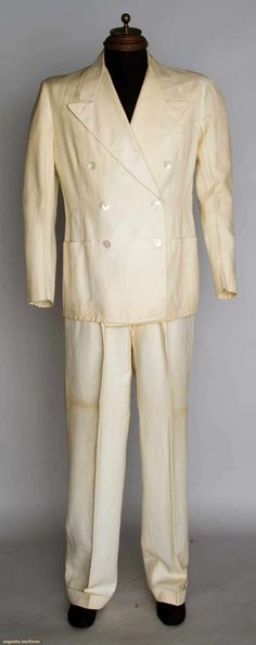 Man's White Palm Beach Suit, C. 1940, Augusta Auctions, November 13, 2013 - NYC