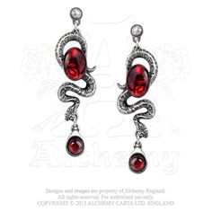 - Serpent's Eye Earrings - Alchemy Gothic Snake Dangle Earrings set with dark red abalone stones. - Charmed with ancient magic and beguiling mysticism, a serpent with sacred healing powers, offset wit