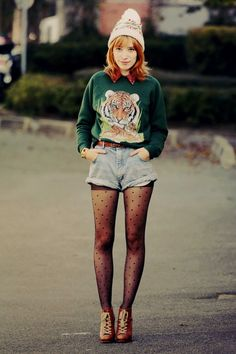 I love the idea of wearing tights under cutoff shorts and, while perhaps it would be too much of an homage to my wardrobe past, I love the idea of pairing silly animal sweatshirts with more fashionable pieces.